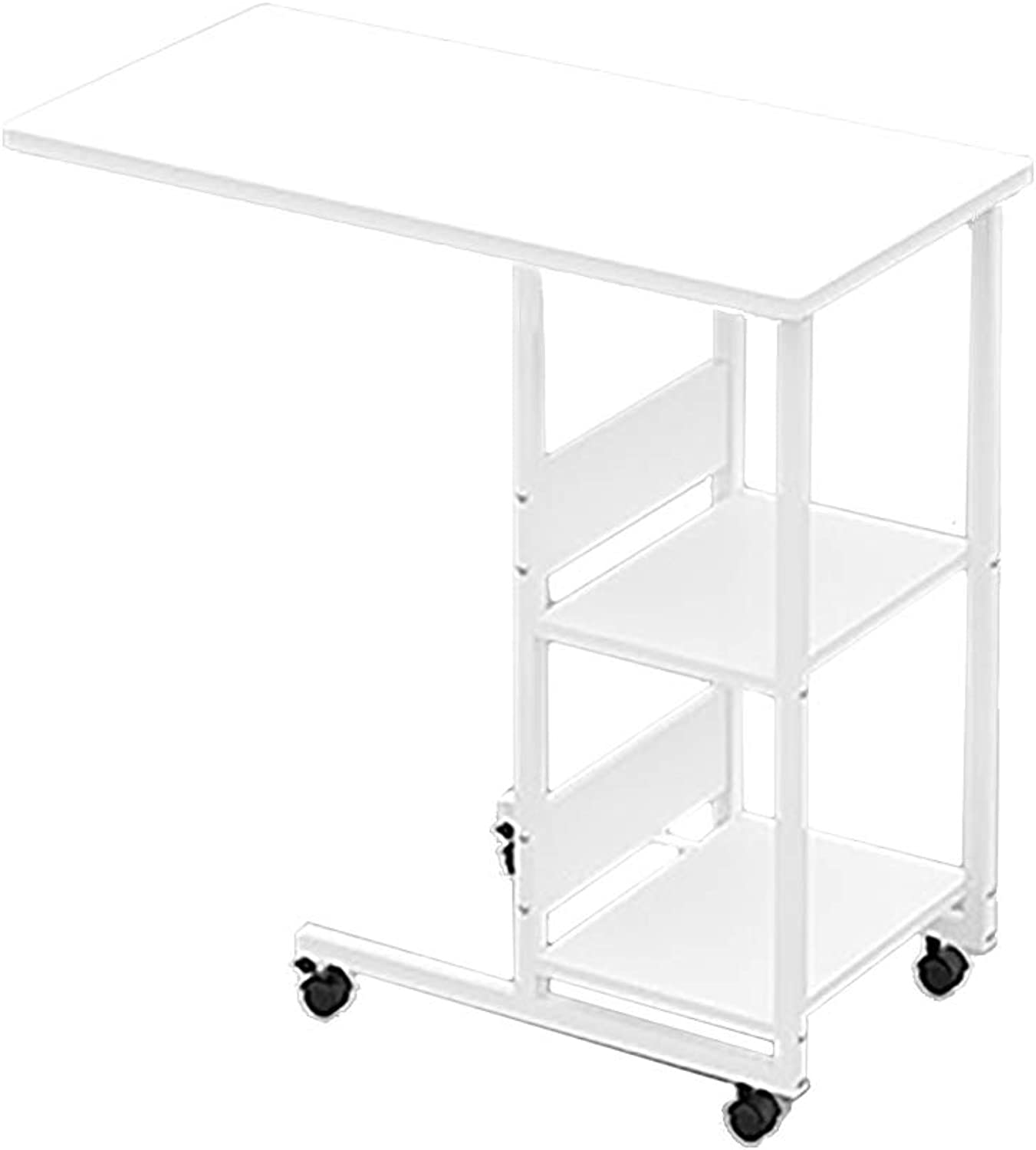 ZDZ Wheeled Laptop Desk, Simple Lazy Small Table Removable Desk Storage Table White