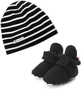LACOFIA Botas Pantuflas de Invierno con Suela Blanda y Sombrero Beanie 100% algodón para bebé niño 2 Piezas Negro 12-18 Meses