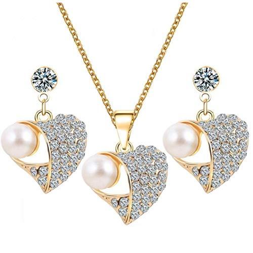 Odoukey Sistema de la joyería del Collar de Cristal de Las Mujeres Corazón Colgante Largo del Perno Prisionero de la Moda de Las niñas y Mujeres