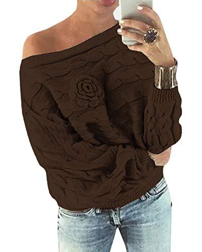 YOINS Schulterfrei Oberteile Damen Herbst Winter Off Shoulder Pullover Pulli für Damen Loose Fit mit Blumenmuster Aktualisierung-Kaffee L