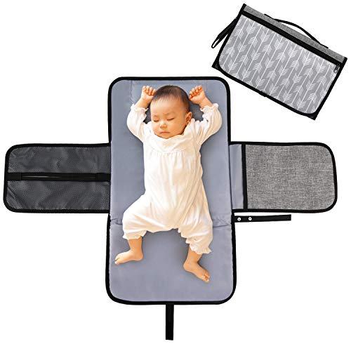 LEADSTAR Fasciatoio Portatile, Portable Tappetino Borsa per Il Cambio Pannolino, Pieghevole Impermeabile Fasciatoio con Cuscino Poggiatesta Tasche Pad per Neonato Esterno Casa Viaggio, Grigio