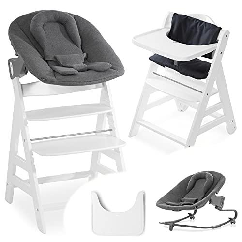 Hauck Beta Plus Newborn Set Premium - Trona evolutiva madera con Hamaca bebé recién nacido en algodón, cojín de asiento acolchado y bandeja - blanco Charcoal