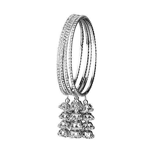 Efulgenz Indian Bollywood Traditional Rhinestone Crystal Wedding Jhumka Tassel Bracelet Bangle Set Jewelry silver