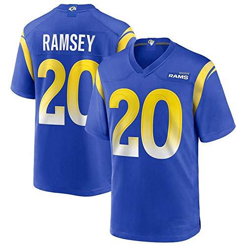 ILHF Jalen Ramsey # 20 American Football Jersey Los Angeles Rams Men'sT-Shirt, 20 Ramsey Schulungen Sport Top, schnelltrocknende Hemd,Blau,L