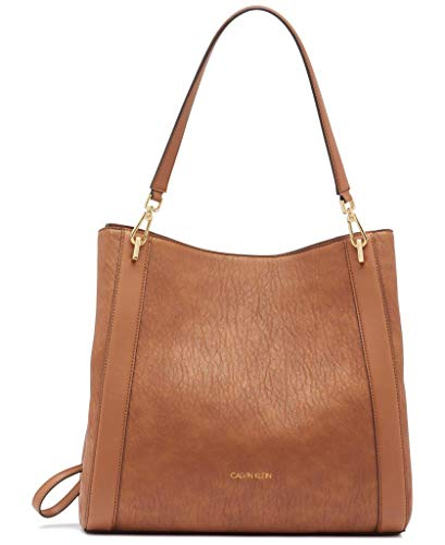 Calvin Klein Women's Ellie Novelty Large Triple Compartment Shoulder Bag, Caramel, One Size