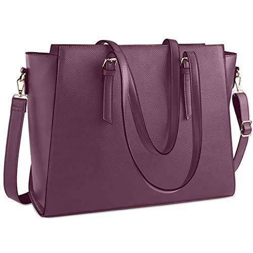 Laptoptasche für Damen, 39,6 cm (15,6 Zoll), wasserdicht, groß, Leder, Aktentasche, für Damen, Business, Büro, Arbeit, leicht, Schulter-Handtasche, Pflaumenviolett