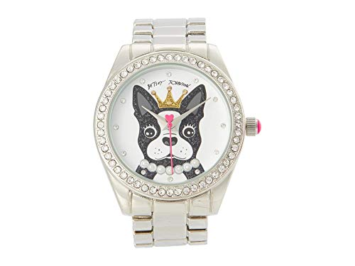 Betsey Johnson French Bulldog Dial Watch Black/Silver One Size