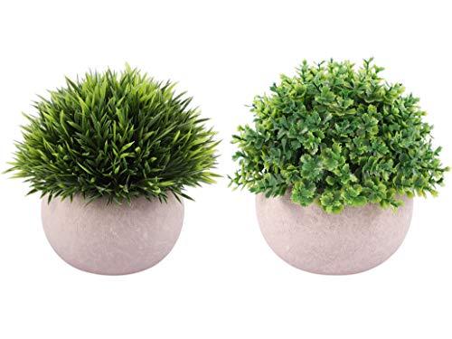 Famibay Plantas Artificiales Plastico en Maceta Verde Grass Plantas Artificial Pequeña Decorativa para Hogar Oficina Jardín Baño Cocina Balcón (verde, 2)