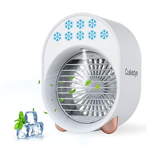 Portable Climatiseur Mini Mobile Refroidisseur d'air 3 en 1 de Climatisation Humidificateur et Purificateur USB Charge pour Bureau Chambre Salle Salon humidificateur avec lumière LED 7 couleurs