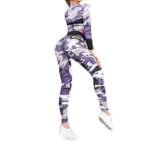 Damen Trainingsanzug Camouflage Sportanzug Jogginganzug Yoga Fitnessanzug Bequem Schnelltrocknend Jogginghose Elastizität Fitness Anzüge Langarm Freizeitanzug Sportswear Lila M