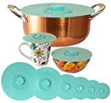 Silicone Lids Extra Large Teal Set of 6 Sturdy Suction Seal Covers. Universal fit for Pots, Fry Pans, Cups, and Bowls 5' to 12'. Natural grip handles interlock for easy use and storage. Food Safe.