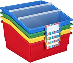 """Really Good Stuff Large Plastic Book Organizer Bins, Dividers, Built-in Label Holder, 13.5"""" by 13.5"""" by 7.75"""" (Set of 4, P..."""