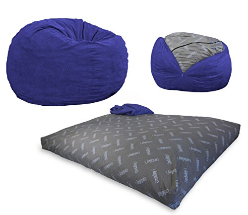CordaRoy's Corduroy Bean Bag Chair, Convertible Chair Folds from Bean Bag to Bed, As Seen on Shark Tank, Navy, Queen Size