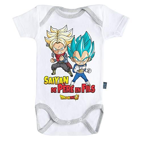 Baby Geek Saiyan de père en Fils - Trunks et Vegeta - Dragon Ball Super - Body Bébé Manches Courtes (3-6 Mois)