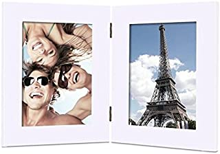 Adeco 5x7 White Wood Decroative Hinged Table Top Desktop Vertical Picture Frame - Made to Display Two 5x7 Photos