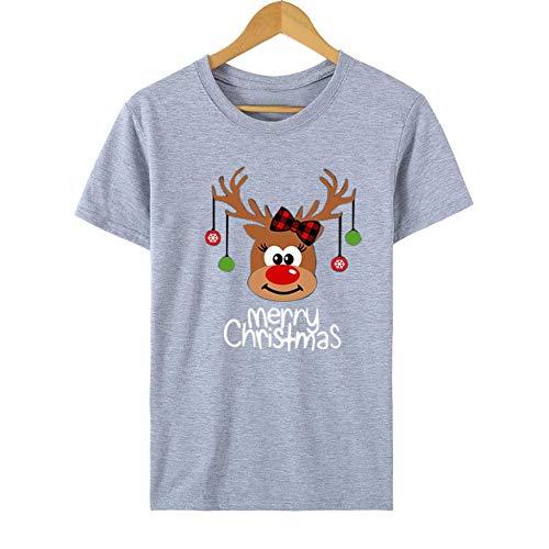 HNKPWY Vrolijk Kerstmis eland T-shirt vrouwen cartoon brief korte mouw T-shirt Kerstmis vakantie casual thee tops vrouwen T-shirt