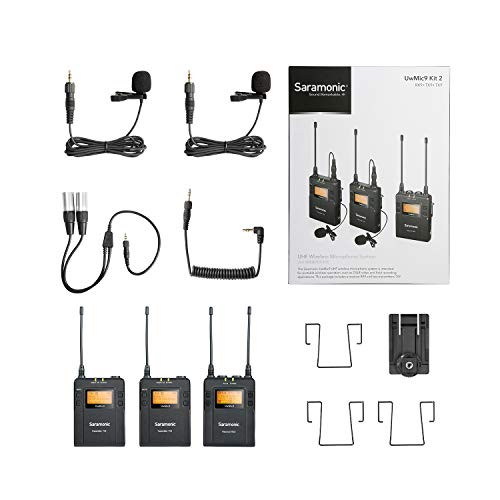 Saramonic UwMic 96-Channel Omnidirectional UHF Wireless Lavalier Microphone System Two Transmitters and One Receiver for Nikon Canon Sony DSLR Cameras, for Video, Field Recording, Interview, ENG,TV