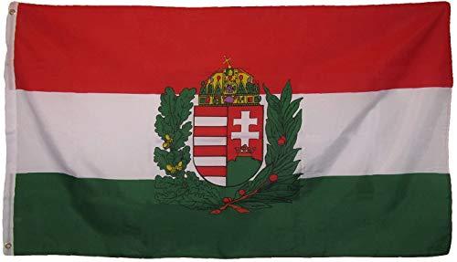 YeeATZ Bandera de Hungría con escudo húngaro de 3 x 5 pulgadas con ojales
