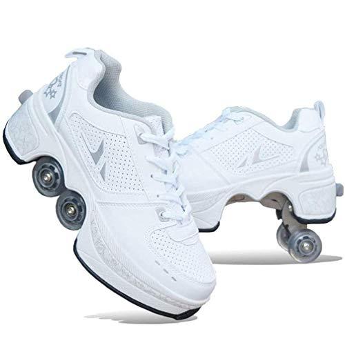 CNMF Rollschuh Roller Skates Lauflernschuhe,Sneakers,2in1 Mehrzweckschuhe Schuhe mit Rollen Skateboardschuhe,Inline-Skate,Verstellbare Quad-Rollschuh Stiefel Skateboardschuhe EU38/UK5-5.5