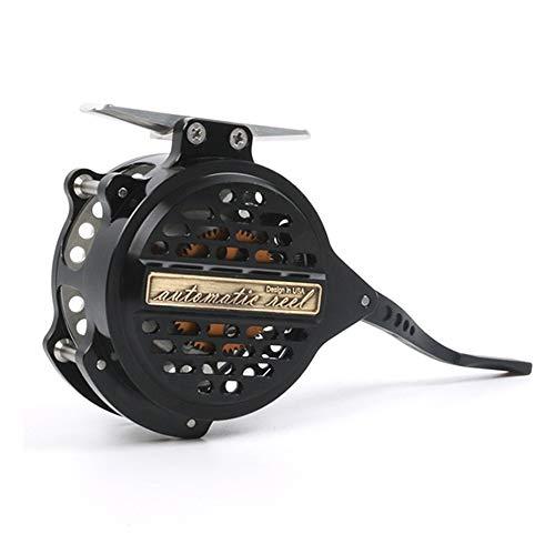 SHZJ Fly Fishing Reel Super Light Automático Y4 70 2 + 1 BB Aluminio Fly Reel Negro/Dorado Color, Black
