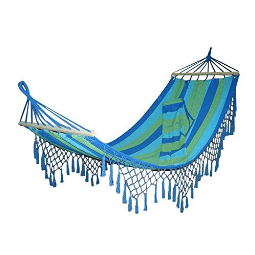 Hamacs Jardin et Patio Camping Suspendu Pompon Parc Balançoire Jardin Balcon Toile De Loisirs De Plage, Portant Environ 100 Kg (Color : Blue, Size : 210 * 100cm)