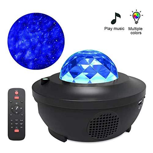 HOBFU Ternenhimmel LED Projektor Sternenhimmel Lampe mit Fernbedienung Starry Stern Mond/Wasserwellen-Welleneffekt/Bluetooth Lautsprecher Perfekt für Party Weihnachten Ostern Halloween (schwarz)