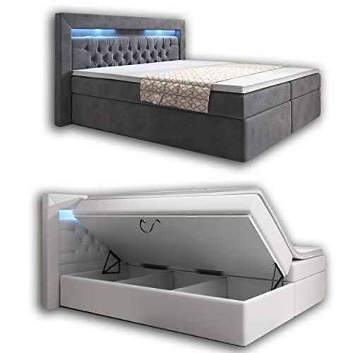wohnenluxus Boxspringbett 180x200 Grau Samt York Bettkasten Hotelbett Matratze Led Kopflicht Chesterfield