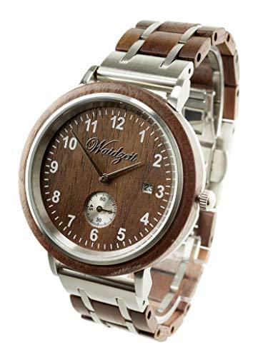 Waidzeit WW01 Valentin Walnuss Uhr Herrenuhr Holz Holz Analog Datum Braun