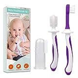 Zahnbürste Baby 0-2 Jahre - 3-teiliges Zahnbürsten-Set mit Fingerzahnbürste Baby und Kauzahnbürste als Zahnungshilfe Baby in Lila