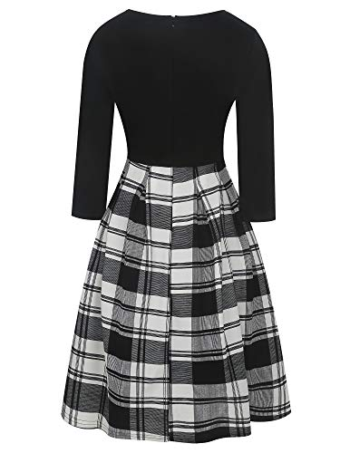 oxiuly Women's Vintage Classic Plaid Patchwork 3/4 Sleeve Pockets Swing Casual Work Dress OX165 (XL, Black Plaid P7)