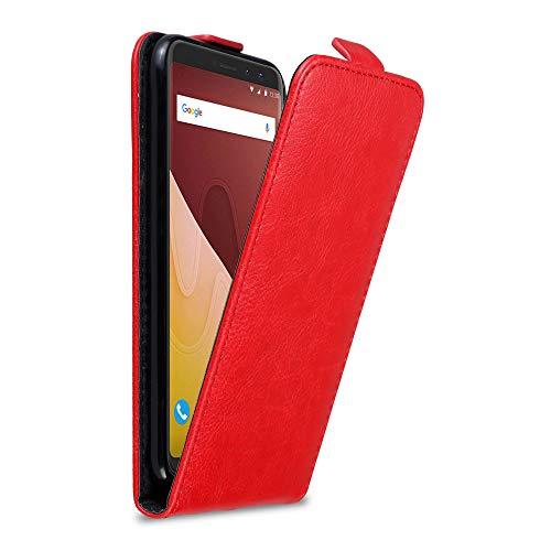 Cadorabo Hülle für WIKO View Prime in Apfel ROT - Handyhülle im Flip Design mit Magnetverschluss - Case Cover Schutzhülle Etui Tasche Book Klapp Style