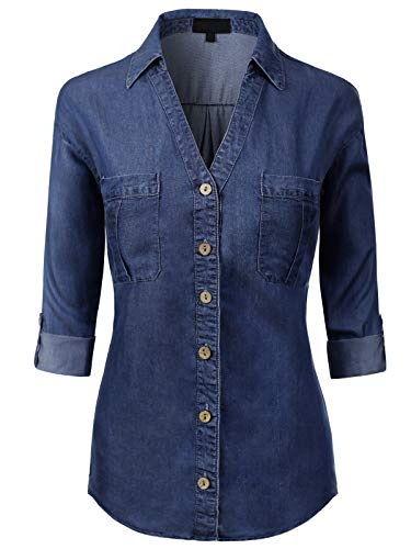 MixMatchy Women's Long Sleeve Denim V-Neck Tencel Button Down Shirt Dark Denim 2XL