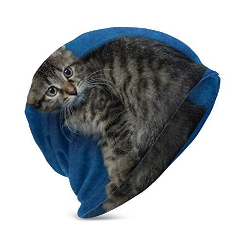 Unisex Beanie Hat Kitty cálido y Acogedor Sentado en el sofá Little Sad 3D Kids Fashion Beanie Caps Apto para niños de 3 a 15 años
