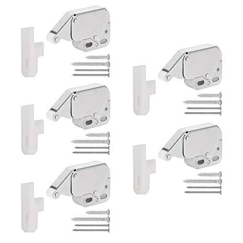 HO2NLE 6pcs Mini Latch Cierre Presión Puerta 27 x 49mm Pestillo Puerta Pequeño Cerradura Gabinete Touch Latch para Puertas de Armario Con Tornillos