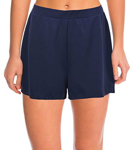 Septangle Damen Einfarbig Schwimmshorts Große Größen Strand Shorts Bikinihose, Marine Blau Gr.- EU 46/US 14
