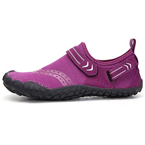 SHENGWEI Zapatos de agua para buceo, esnórquel, natación, unisex, para playa, correr, esnórquel, surf, buceo, yoga, ejercicio (color morado, tamaño: 43)
