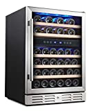 Kalamera 24'' Wine refrigerator 46 Bottle Dual Zone Built-in or Freestanding Fridge with Stainless...