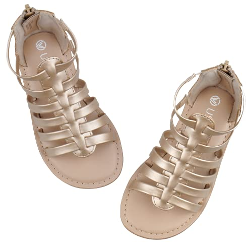 CCVON Toddler Girls Gladiator Sandals Open Toe Sandals Cute Summer Shoes with High Back Zipper for Little Kid Gold 10