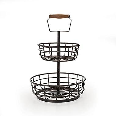 Gourmet Basics by Mikasa 5162868 2-Tier Adjustable Threaded Metal Storage Basket, Antique Black
