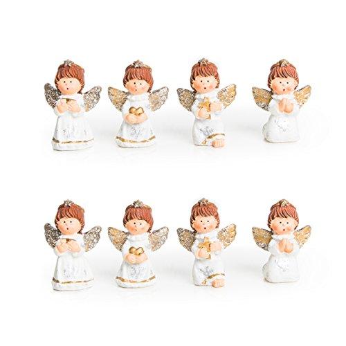 2 x 4 kleine süße gold silber weiß Glitzer Engel Figur Schutzengel Mini-Engel 5 cm Weihnachtsanhänger Gastgeschenk Mitgebsel give-away Weihnachten Kinder
