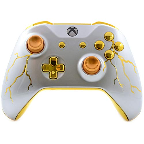 Gold Thunder UN-MODDED Custom Controller Compatible with Xbox One S/X Unique Design (with 3.5 Jack)