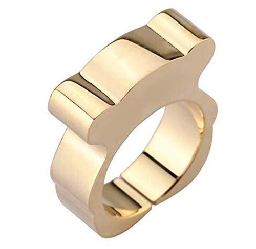 Ring Mannen en Vrouwen Titanium Steel Creatieve Beer Paar Ring Kostuum Accessoires Vakantie Gift Art Deco No8 Goud