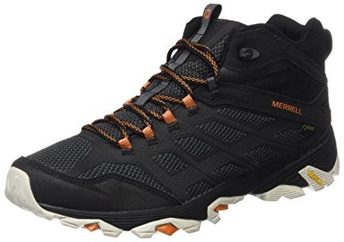 Merrell Moab Fst Mid Gore-tex, Chaussures de Randonnée Hautes Homme - Noir (Black/Orange), 42 EU