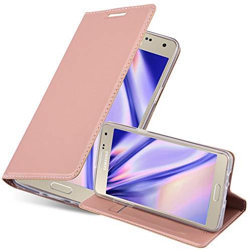 Cadorabo Hülle für Samsung Galaxy A5 2015 (5) - Hülle in ROSÉ Gold – Handyhülle mit Standfunktion und Kartenfach im Metallic Look - Case Cover Schutzhülle Etui Tasche Book Klapp Style