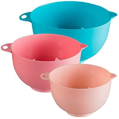Vasconia Set mixing bowls Ekco Tendencias de 3 Piezas de Plástico Color Azul, rosa y rosa claro, Azul Y Rosa