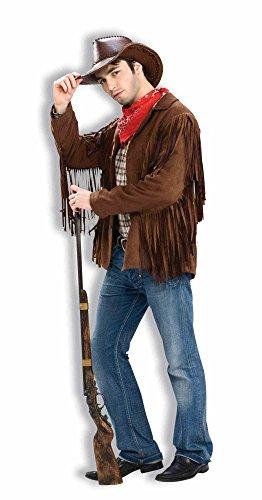 shoperama Braune Buffalo Bill Fransen Jacke für Cowboy und Hippie Herren Kostüm Western, Größe:M