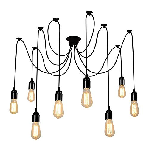 Lampop Pendelleuchte Vintage Industrie Loft Kronleuchter Retro Hängelampe 8 Die DIY Decken Spinne Lampen-Licht-E27 Anhänger Glühbirne Landhausstil