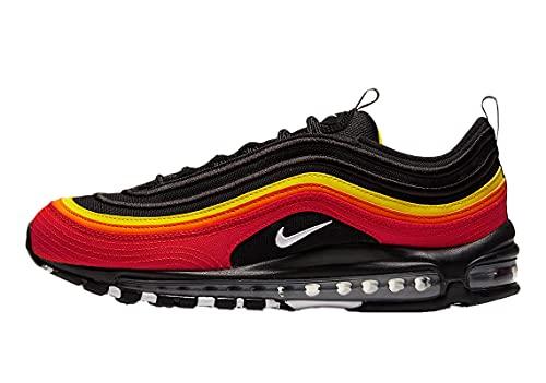 Nike Mens Air Max 97 QS Running Shoe, Adult, Black/White-Chile Red-Magma Orange, 9.5 M US