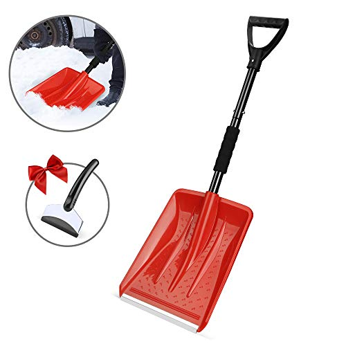 Eventronic Snow Shovel Detachable Snow Shovel with Durable Aluminum Edge Blade DGrip Handle Portable for Emergency Car Camping Home Red with a Gift Snow Scraper