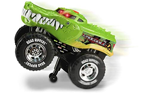 Nikko – Road Rippers Wheelie Monsters – Motorisiertes Spielzeug Auto mit Licht und Sound – Wheelie Monster Truck für Kinder – Crocodile